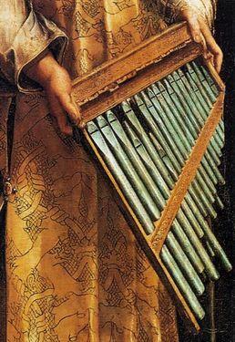 Raphaël l'extase de Sainte Cécile détail l'orgue perdant ses tuyaux
