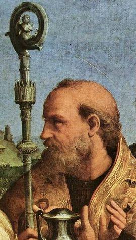 Raphaël l'extase de Sainte Cécile détail visage de Saint Augustin