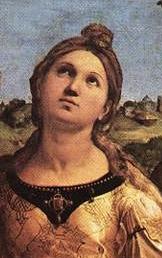 Raphaël l'extase de Sainte Cécile détail visage de Sainte Cécile