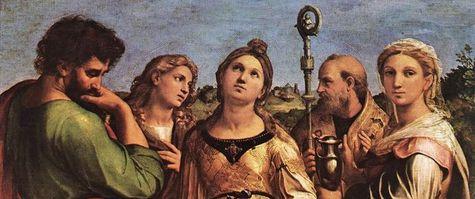 Raphaël l'extase de Sainte Cécile deuxième plan détail - les têtes des Saints