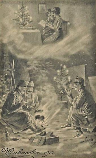 Noël 1914 - soldats allemands au front + famille