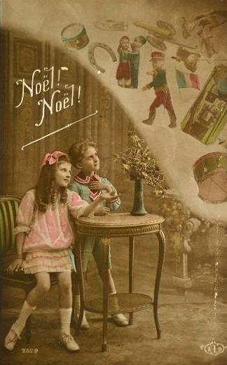 Noël 1914 - carte patriotique avec enfants