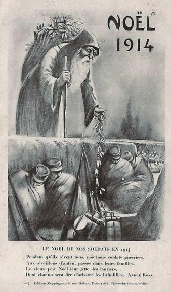Noël 1914 - Père Noël apportant des lauriers