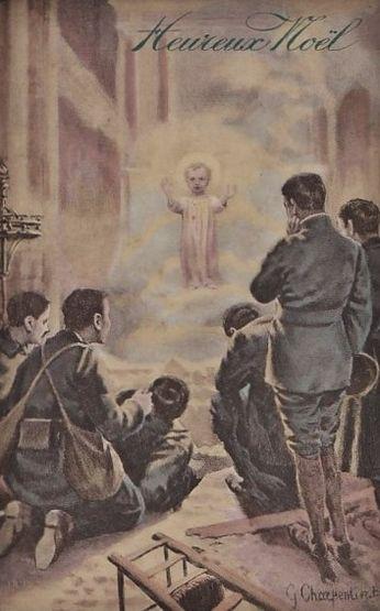 Noël 1914 - soldats priant dans église en ruine