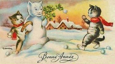 carte de voeux vintage avec chats dans la neige