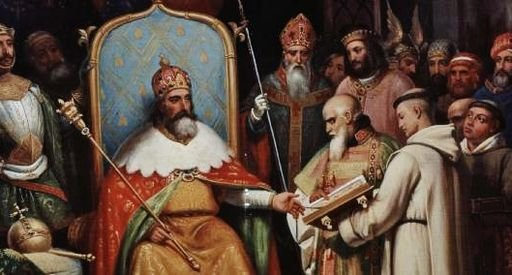 Charlemagne et Alcuin