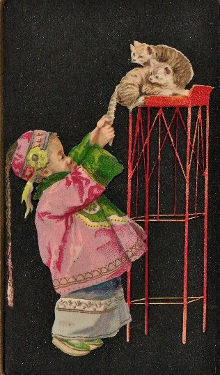 Petit chinois tirant la queue d'un chat - 1907