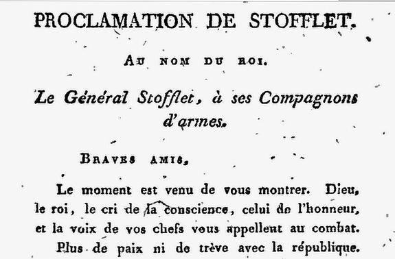 Proclamation de Stofflet