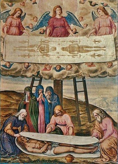 Ensevelissement du Christ et développement du Saint Suaire - fresque des frères della Rovere