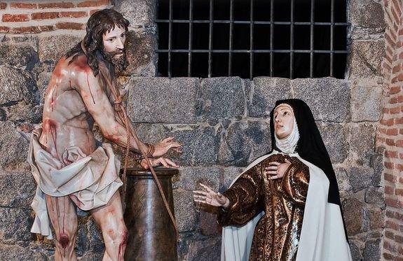 Sainte Thérèse aux pieds du Christ à la colonne - Gregorio Fernandez