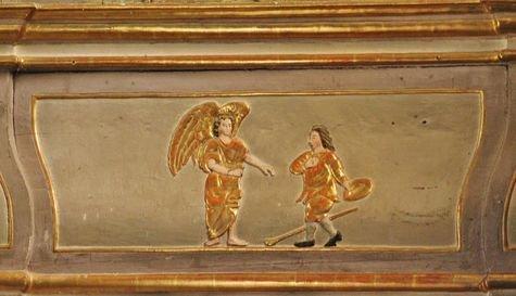Eglise de Burzet, détail du rétable -  Saint Bénézet rencontre l'ange