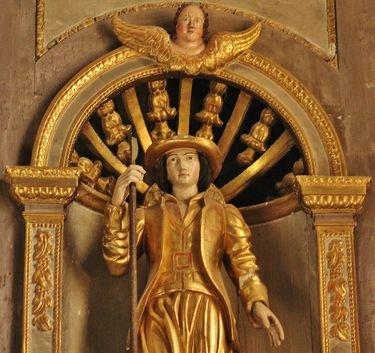 Eglise de Burzet, rétable - statue de Saint Bénézet - détail