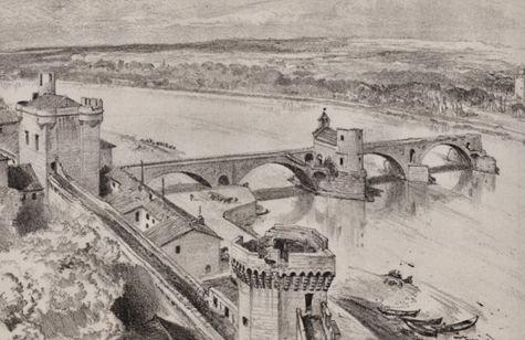 Lithographie fin XIXe s - Pont Saint Bénézet vu du rocher des Doms