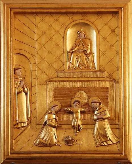 Morlaas, église Sainte-Foy - le Bx Bernard et ses deux jeunes disciples avec l'Enfant Jésus