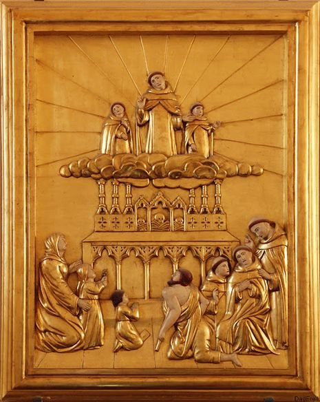 Morlaas, église Sainte-Foy - le Bx Bernard et ses deux jeunes disciples intercèdent et font pleuvoir les grâces