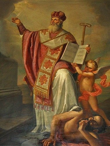 Saint Athanase piétine Arius qui demande le silence