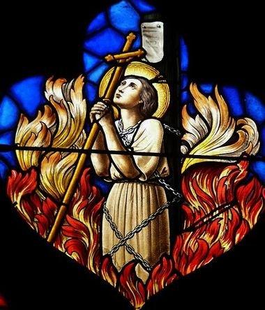 Supplice de Ste Jeanne d'Arc, vitrail de l'église ND des Vertus à Aubervilliers