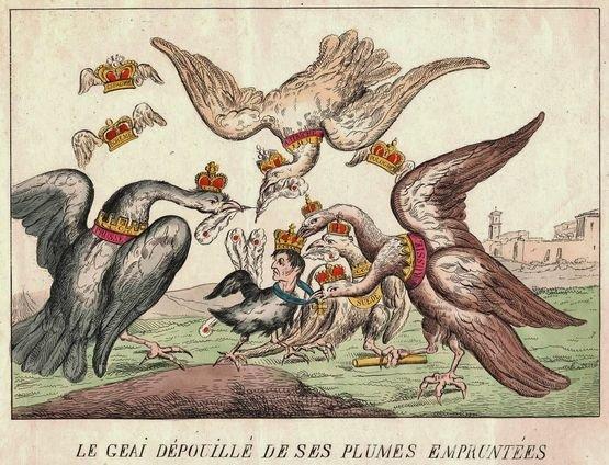 Le geai dépouillé de ses plumes empruntées caricature de Napoléon
