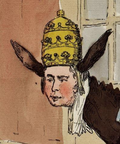 Le Pape Pie VI caricaturé en âne (détail d'une gravure révolutionnaire de 1790)