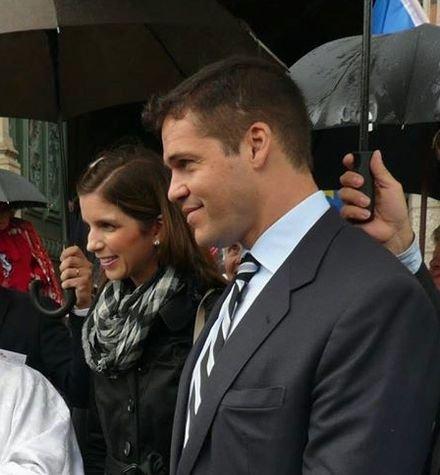Le Prince Louis et la Princesse Marie-Marguerite à l'issue de la Messe à Sainte-Anne d'Auray dimanche 31 mai 2015