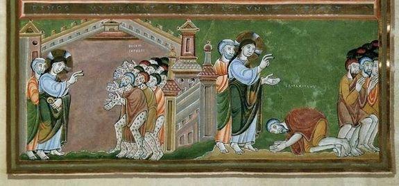 Guérison des dix lépreux - Codex Aureus of Echternach v.1030 musée national allemand Nuremberg