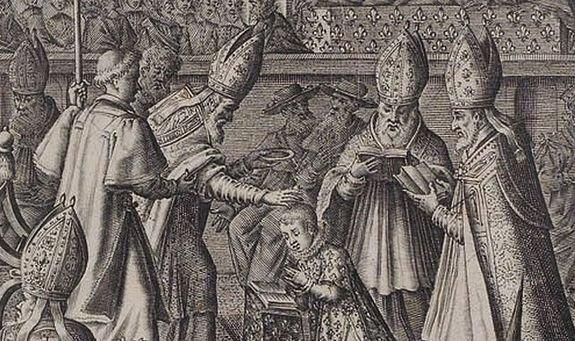 Détail d'une gravure représentant sacre de Louis XIII (17 octobre 1610)
