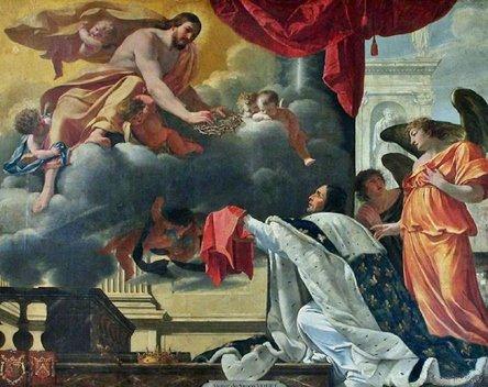 Simon Vouet - St Louis recevant du Christ la Ste Couronne d'épines