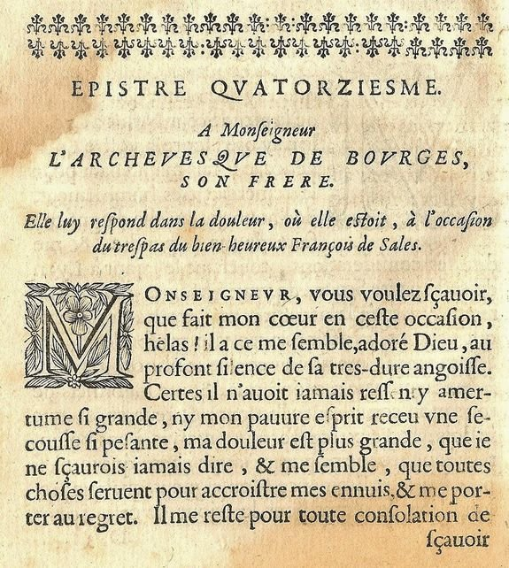 Ste Jeanne de Chantal lettre sur la mort de St François de Sales