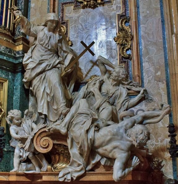 Pierre Le Gros, dit le jeune - la religion terrassant l'hérésie et la haine - Rome, Gesù