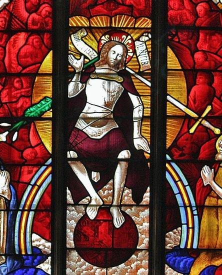 Vitrail ouest de l'église de Fairford - le Christ Juge