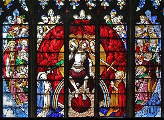 Vitrail ouest (partie centrale) de l'église de Fairford