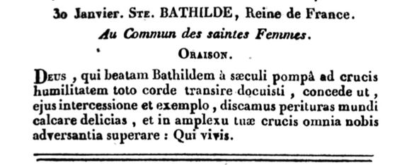 Oraison de la fête de Ste Bathilde