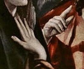 Le Greco - le Christ faisant Ses adieux à Sa Mère - détail les mains droites