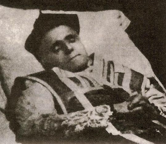 Le chanoine Antoine Crozier sur son lit de mort