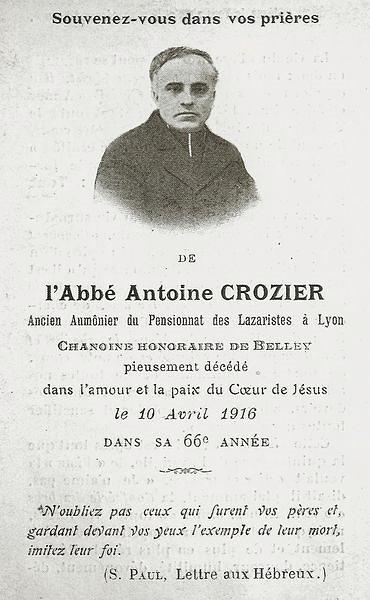 Memento mortuaire du chanoine Antoine Crozier