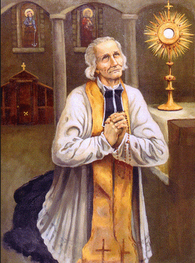 le Saint Curé d'Ars en adoration