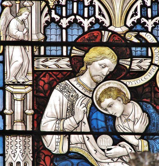 Oxford, détail d'un vitrail de la chapelle de tous les saints