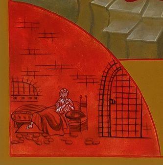 icône des martyrs de la famille royale détail : Louis XVII dans son cachot