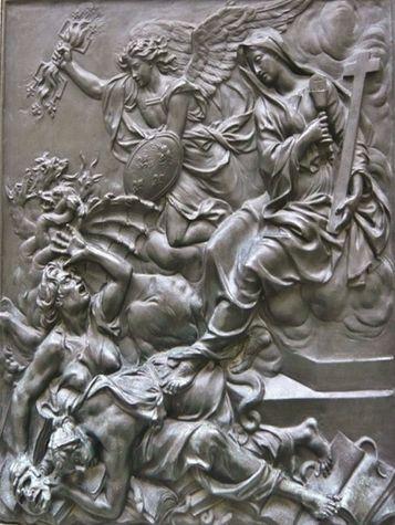 Coysevox bas-relief de la statue de Louis XIV - la religion terrassant l'hérésie