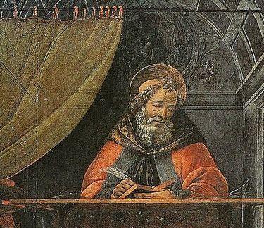 Sandro Botticelli - St Augustin dans son cabinet de travail - détail
