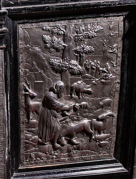 Saint Antoine le Grand entouré d'animaux - détail de la châsse de Saint Antoine