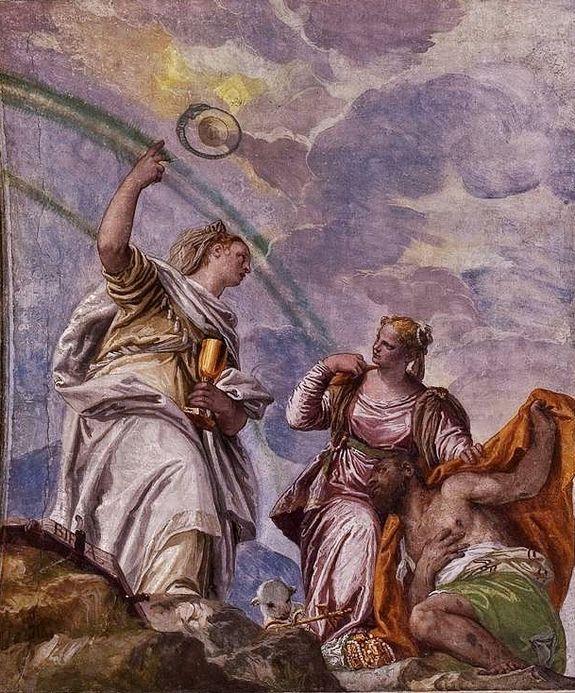 Véronèse - la foi guidant l'homme vers l'éternité - villa Barbaro à Maser fresque (1560-61)