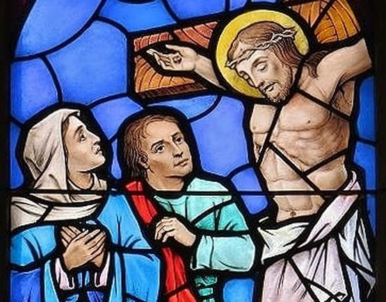 Eglise Sts Simon et Barthélémy Laval Québec - Vitrail Compassion (détail)