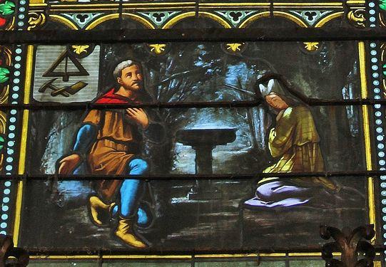 Fresneau vitrail illustrant le bénitier miraculeux