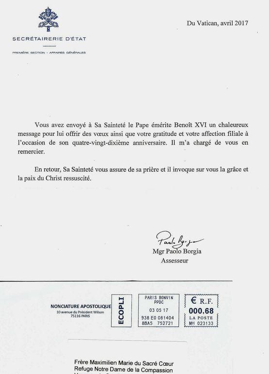Réponse aux voeux d'anniversaire de Benoît XVI