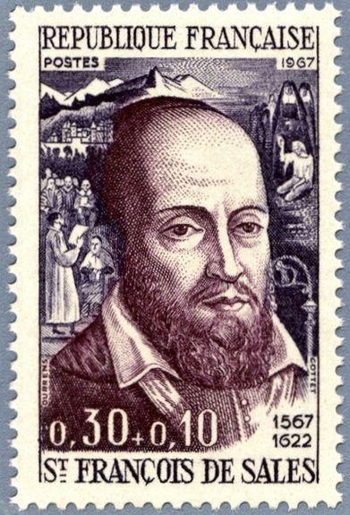 Timbre édité pour le 4e centenaire de la naissance de St François de Sales 1567-1967