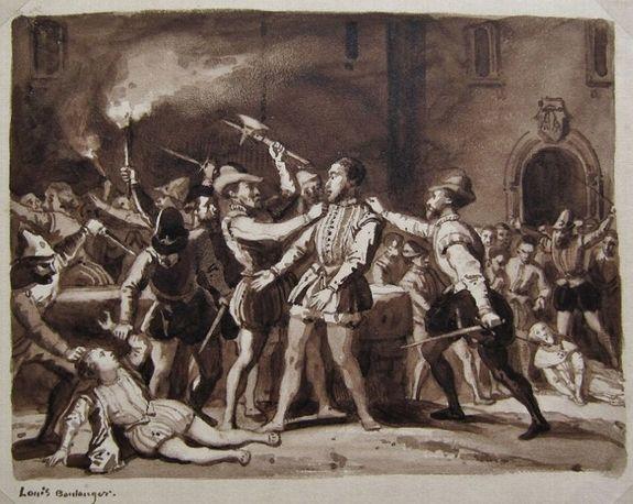 La Michelade de Nîmes lavis de Louis Boulanger vers 1838
