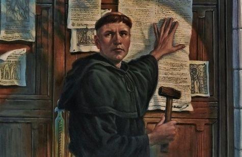 Luther affichant ses thèses hérétiques 31 octobre 1517