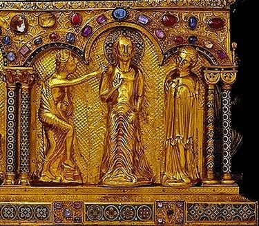 Châsse des Rois Mages - détail le baptême de NS