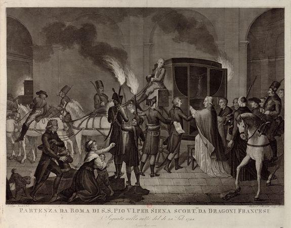 Départ de Pie VI de Rome le 20 février 1798